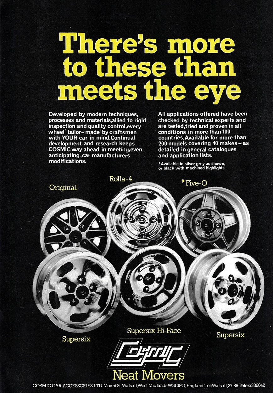 Cosmic wheels advert from 1979. Shows Original, Rolla-4, Five-O, Supersix, Supersix Hi-Face and Supersix